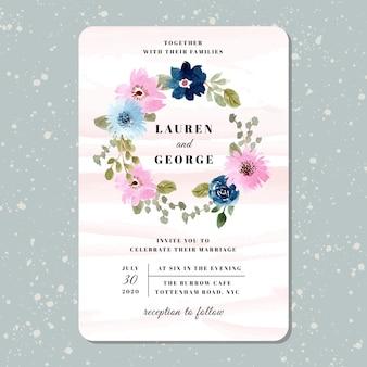 Bruiloft uitnodiging met mooie bloemen krans aquarel