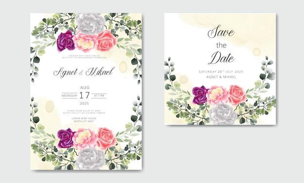 Bruiloft uitnodiging met mooie en elegante bloemen sjablonen