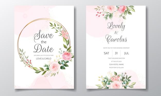 Bruiloft uitnodiging met mooie en elegante bloemen