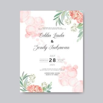 Bruiloft uitnodiging met mooie en romantische bloem sjablonen