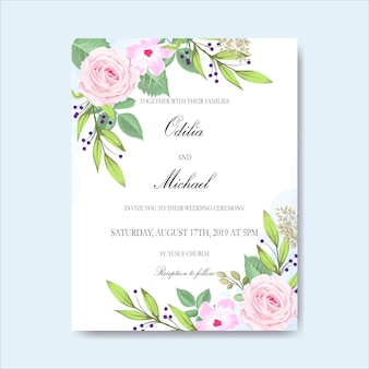 Bruiloft uitnodiging met mooie hand getrokken bloemen