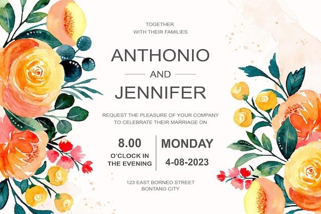 Bruiloft uitnodiging met oranje bloemenwaterverf