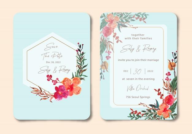 Bruiloft uitnodiging met orchidee bloemen aquarel