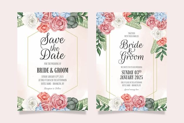 Bruiloft uitnodiging met perzik aquarel bloemendecoratie frame
