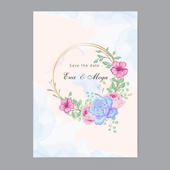 Bruiloft uitnodiging met prachtige bloemenbladeren