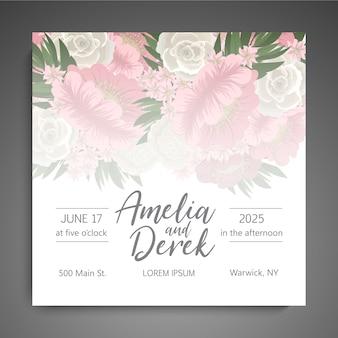 Bruiloft uitnodiging met schattige bloemen