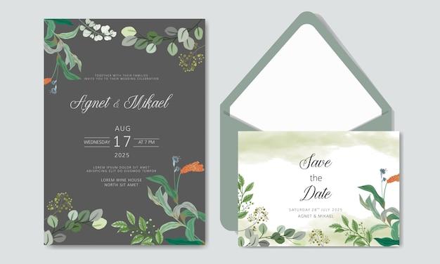 Bruiloft uitnodiging met schoonheid en luxe bloemen