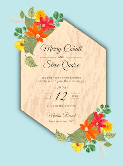 Bruiloft uitnodiging met tropische bloemen aquarel