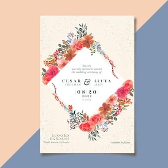 Bruiloft uitnodiging mooie bloemen bloei aquarel