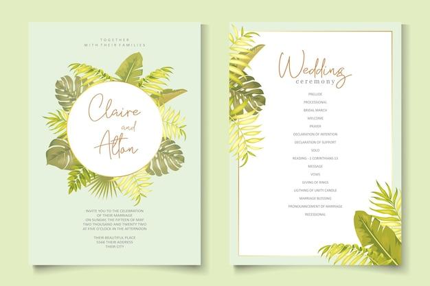 Bruiloft uitnodiging ontwerp met tropische bladeren