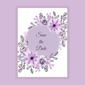 Bruiloft uitnodiging paarse bloem aquarel