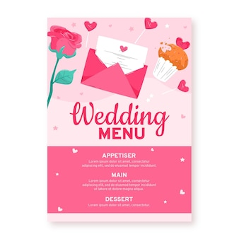 Bruiloft uitnodiging restaurant menu