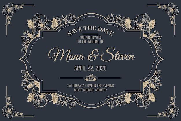 Bruiloft uitnodiging retro sjabloon