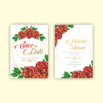 Bruiloft uitnodiging rozen stijl