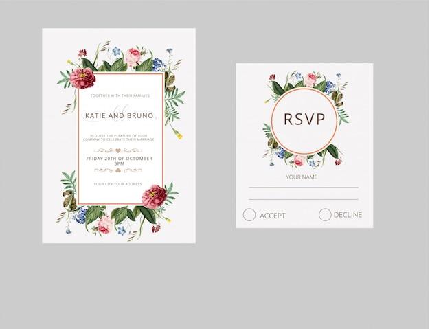 Bruiloft uitnodiging rsvp kaart aquarel stijl