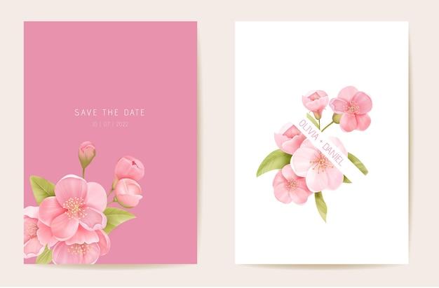 Bruiloft uitnodiging sakura, kersen bloemen, bladeren kaart. realistische bloemen lente sjabloon vector. botanische save the date moderne poster, trendy design, luxe achtergrond