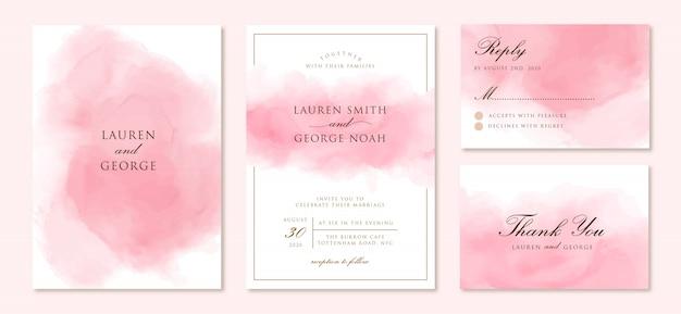 Bruiloft uitnodiging set met abstracte roze achtergrond