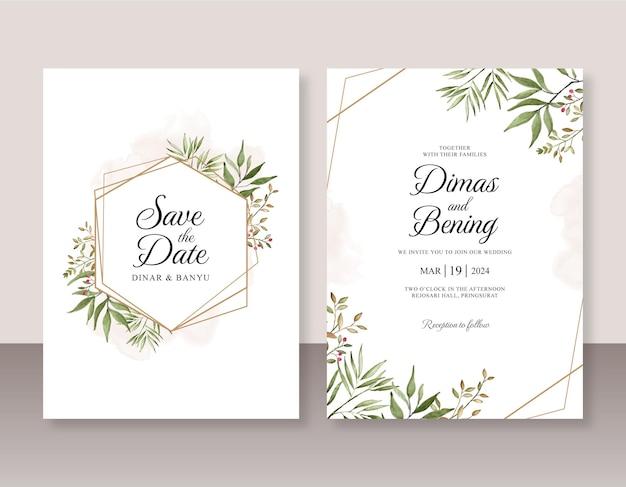 Bruiloft uitnodiging set met aquarel bladeren en gouden geometrische