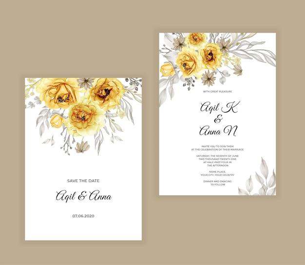 Bruiloft uitnodiging set met aquarel bloemen geel Premium Vector