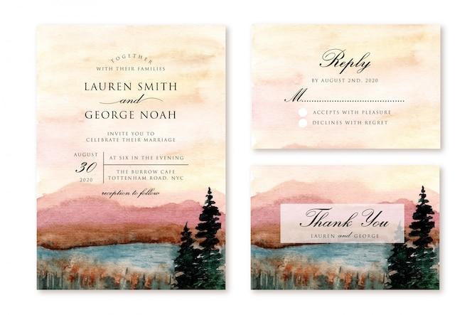 Bruiloft uitnodiging set met berg en meer landschap aquarel