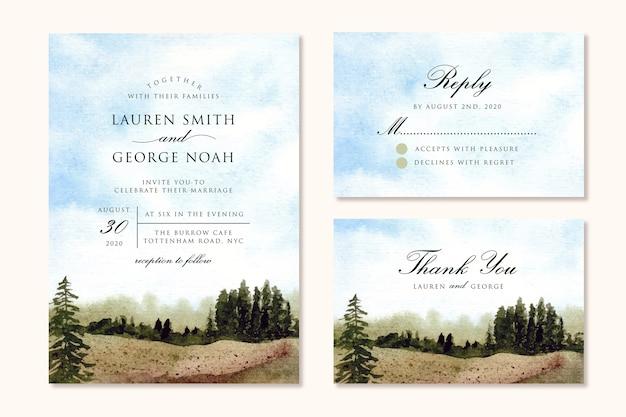 Bruiloft uitnodiging set met blauwe lucht en groene veld landschap aquarel