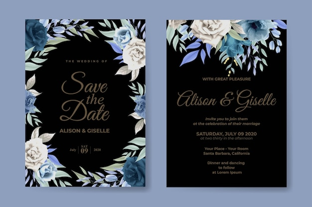 Bruiloft uitnodiging set met blauwe zachte rozen bloem