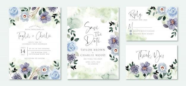 Bruiloft uitnodiging set met blauwgroene bloementuin aquarel