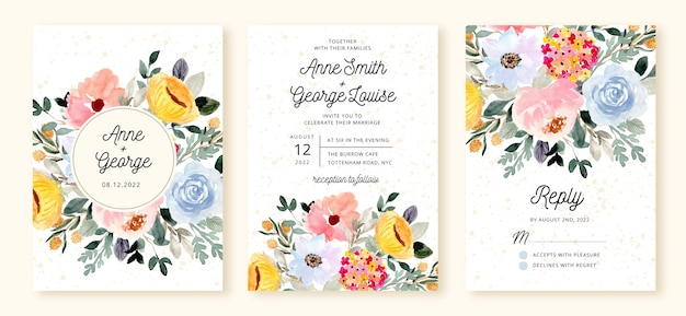 Bruiloft uitnodiging set met bloemen bloesem aquarel