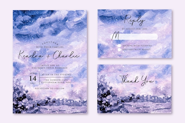 Bruiloft uitnodiging set met dromerige winter aquarel ontwerp