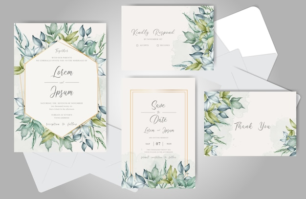 Bruiloft uitnodiging set met elegante bladeren en groen aquarel