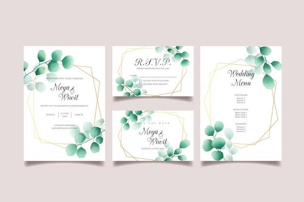 Bruiloft uitnodiging set met eucalyptus, gouden frame