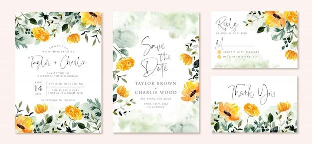 Bruiloft uitnodiging set met geel groen bloementuin aquarel