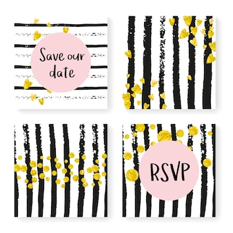 Bruiloft uitnodiging set met glitter confetti en strepen. gouden hartjes en stippen