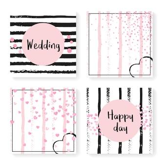 Bruiloft uitnodiging set met glitter confetti en strepen. roze hartjes en stippen op zwarte en roze achtergrond. sjabloon met huwelijksuitnodiging voor feest, evenement, vrijgezellenfeest, bewaar de datumkaart.