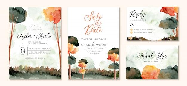 Bruiloft uitnodiging set met herfst boom landschap aquarel