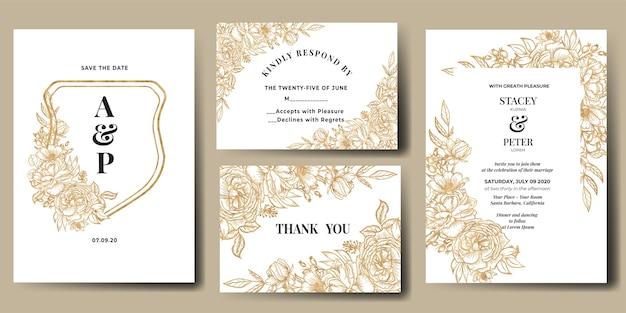 Bruiloft uitnodiging set met lijntekeningen bloem goud