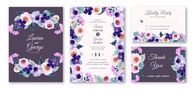 Bruiloft uitnodiging set met paarse bloemen aquarel