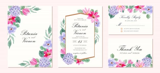 Bruiloft uitnodiging set met paarse roze bloem aquarel