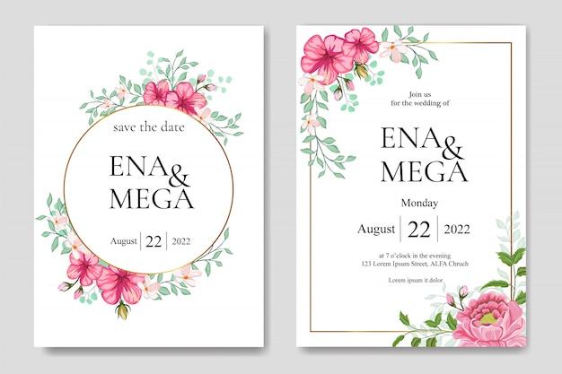 Bruiloft uitnodiging set met prachtige bloemen bladeren