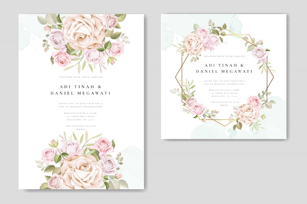 Bruiloft uitnodiging set met prachtige bloemen en bladeren