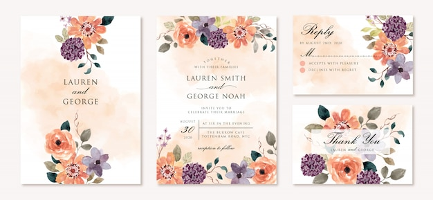 Bruiloft uitnodiging set met prachtige paarse oranje bloem aquarel