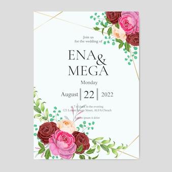 Bruiloft uitnodiging set met prachtige rode roze bloemen en bladeren