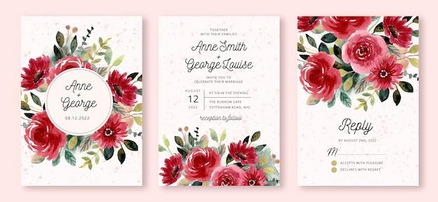 Bruiloft uitnodiging set met rode bloementuin aquarel