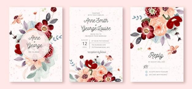 Bruiloft uitnodiging set met rode perzik bloem aquarel