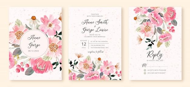 Bruiloft uitnodiging set met roze bloementuin aquarel