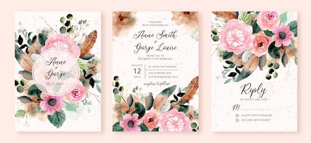 Bruiloft uitnodiging set met rustieke bloem en veren aquarel