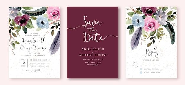 Bruiloft uitnodiging set met rustieke bloemen en veren aquarel