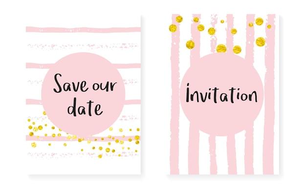 Bruiloft uitnodiging set met stippen en pailletten. vrijgezellenfeestkaarten met gouden glitter confetti. verticale strepen achtergrond. hipster-huwelijksuitnodiging voor feest, evenement, bewaar de datum-flyer.