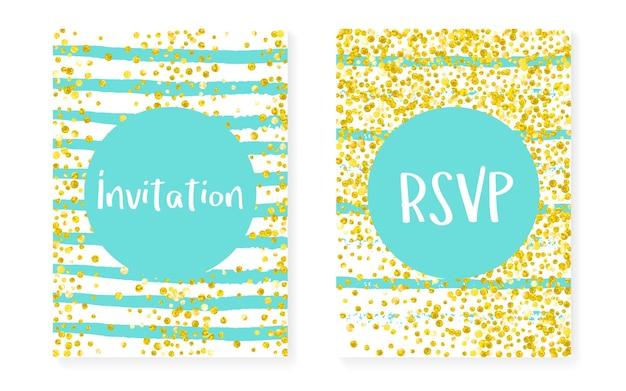 Bruiloft uitnodiging set met stippen en pailletten. vrijgezellenfeestkaarten met gouden glitter confetti. verticale strepen achtergrond. stijlvolle huwelijksuitnodiging voor feest, evenement, bewaar de datumflyer.