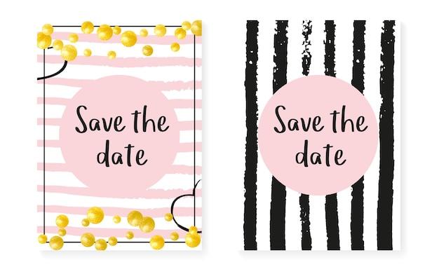 Bruiloft uitnodiging set met stippen en pailletten. vrijgezellenfeestkaarten met gouden glitter confetti. verticale strepen achtergrond. vintage huwelijksuitnodiging voor feest, evenement, bewaar de datum-flyer.